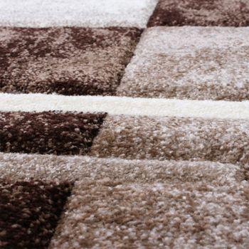 Bettumrandung Teppich Marmor Optik Karo Braun Beige Creme Läuferset 3 Tlg – Bild 2