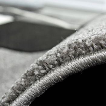 Bettumrandung Teppich Marmor Optik Karo Schwarz Grau Weiss Läuferset 3 Tlg – Bild 2