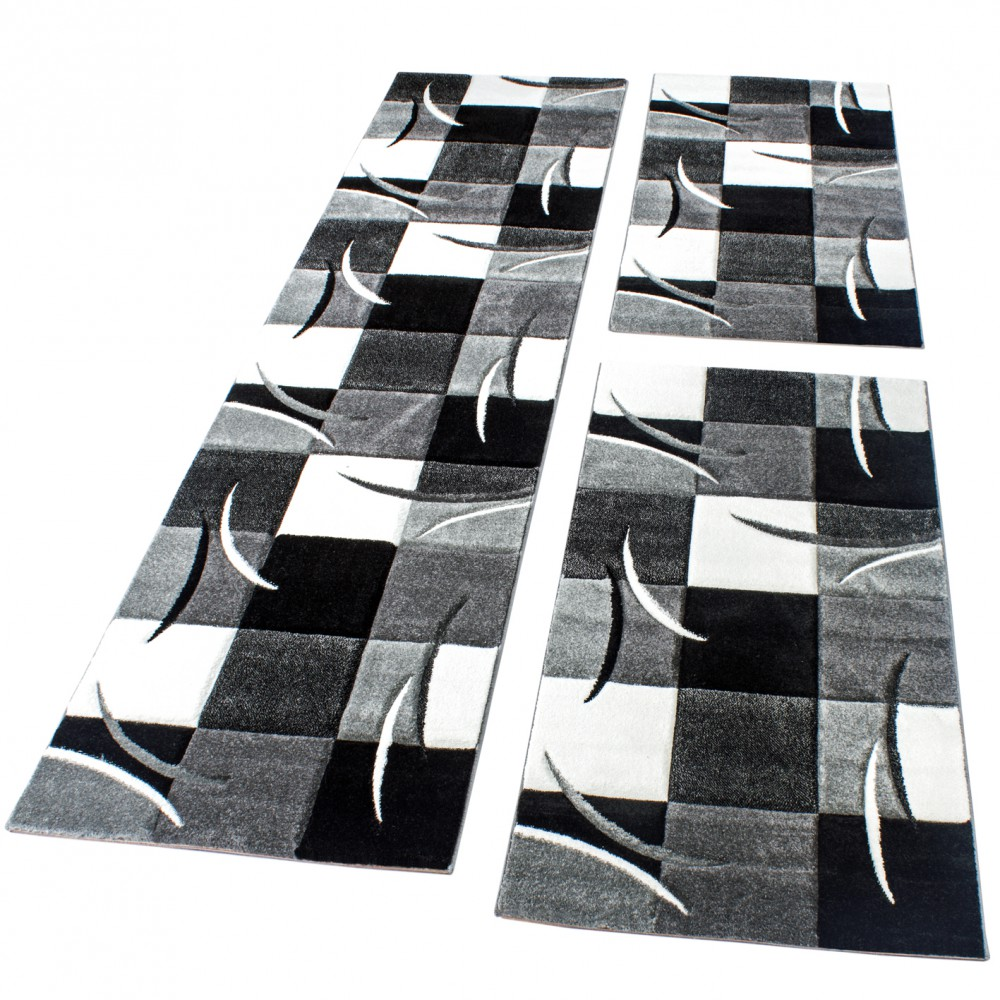 Checked Black Grey Rug: Bedroom Runners - Black White