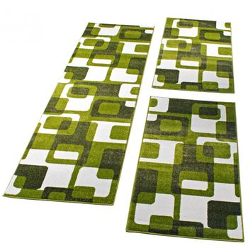 Läuferset Retro Muster Grün