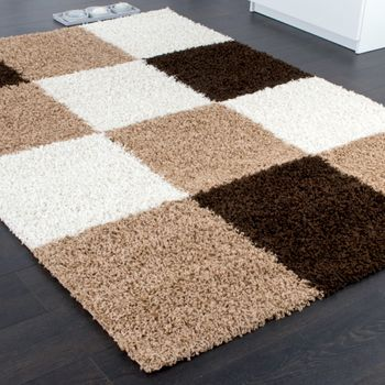Shaggy Carpet High Pile Long Pile Chequered in Brown Beige Cream – Bild 2