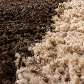 Shaggy Carpet High Pile Long Pile Chequered in Brown Beige Cream – Bild 4