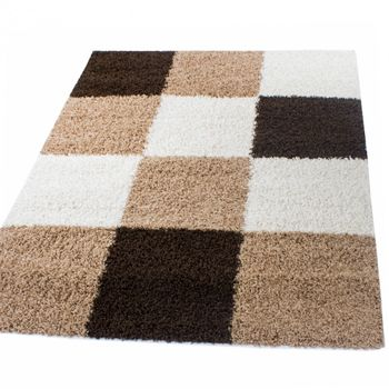Shaggy Carpet High Pile Long Pile Chequered in Brown Beige Cream – Bild 5