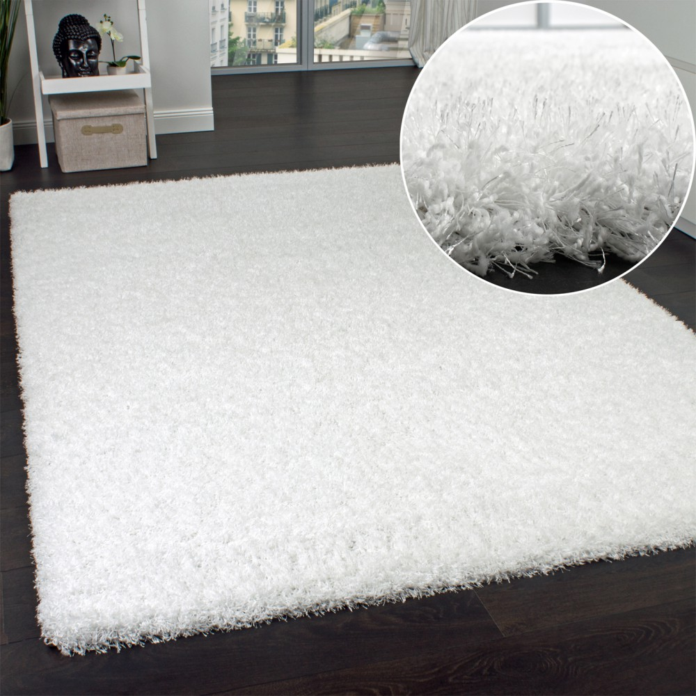 tapis shaggy haut poils longs poils agr able au touch en blanc neige tapis tapis shaggy poils. Black Bedroom Furniture Sets. Home Design Ideas