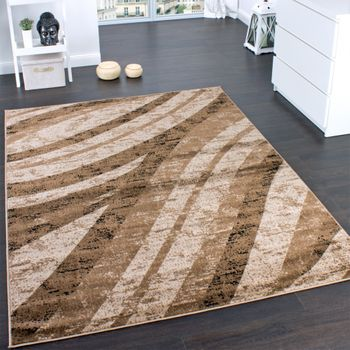 Designer Carpet Trendy Veining Wave Pattern Brown Beige