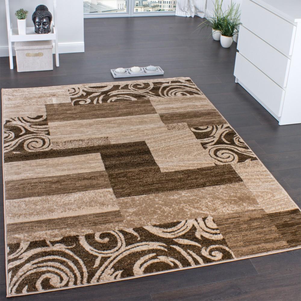 Designerteppich Muster Meliert Beige Design Teppiche