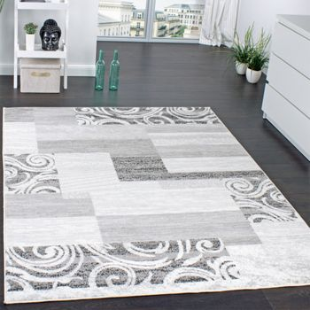 Designer Rug Living Room Short Pile Grey Cream