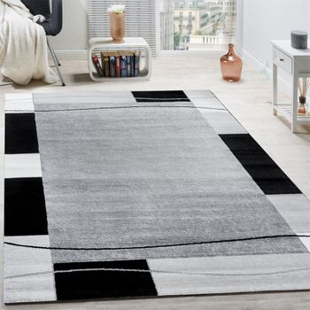 Designer Rug With Border in Grey Black Cream