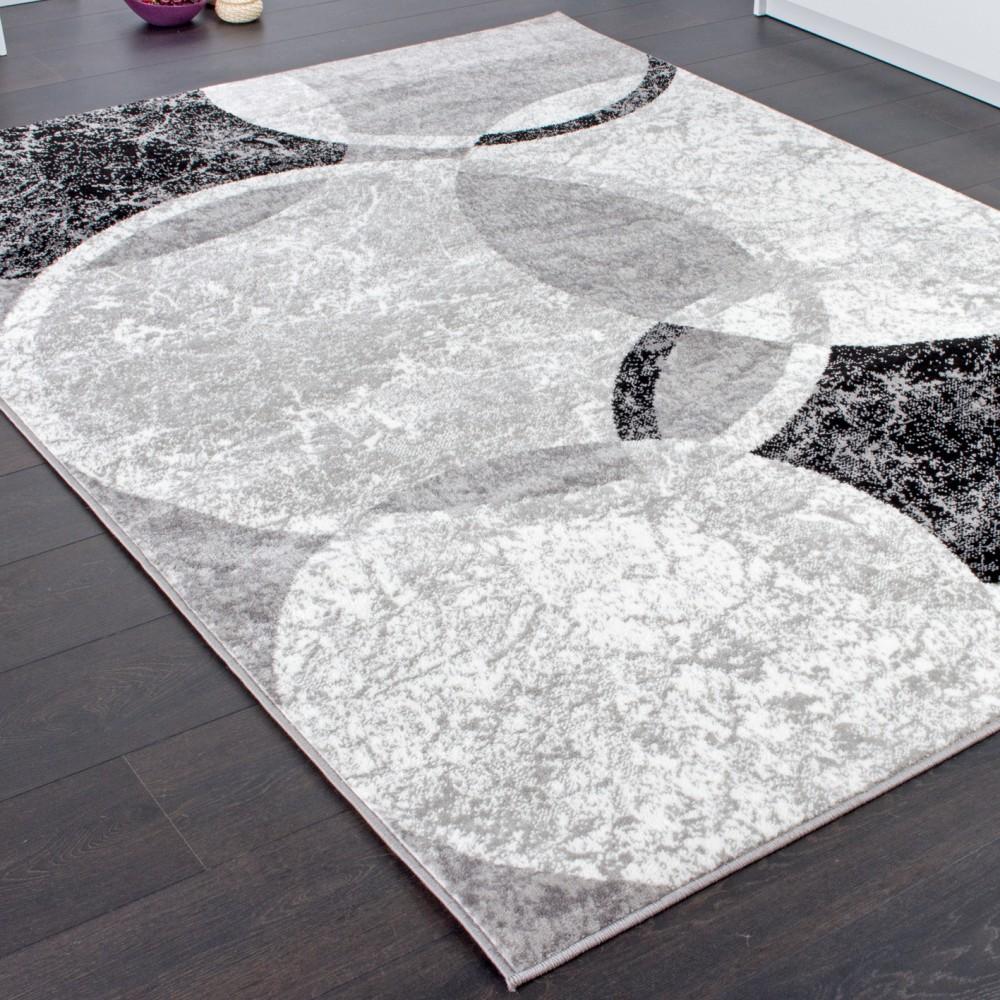 tapis de cr ateur contemporain avec cercles marbr en gris noir cr me ebay. Black Bedroom Furniture Sets. Home Design Ideas