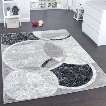Designer Rug With Circular Pattern Grey Cream