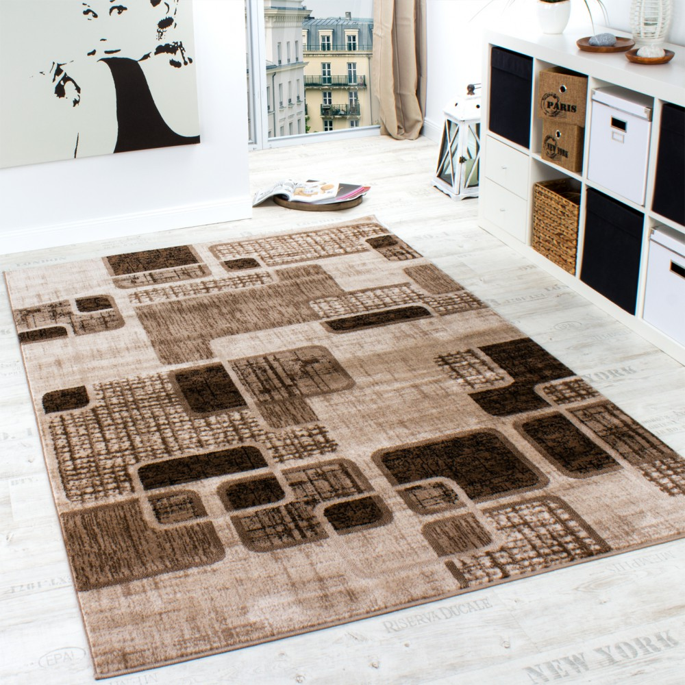 tapis de cr ateur style retro shabby chic carreaux marbr en marron beige tapis tapis poil ras. Black Bedroom Furniture Sets. Home Design Ideas