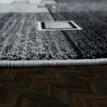 Alfombra De Diseño Noble Cuadros De Pelo Corto En Gris Crema Negro Moteado  – Bild 2