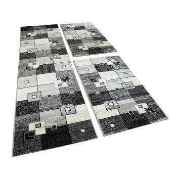Bettumrandung 3 Tlg Designerteppich Läuferset Kariert Meliert Grau Schwarz Creme – Bild 1