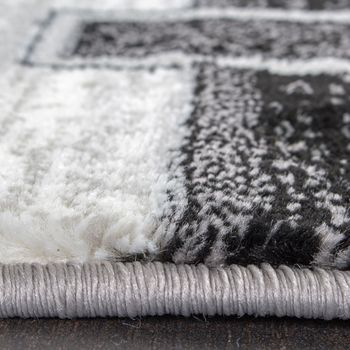 Bettumrandung 3 Tlg Designerteppich Läuferset Kariert Meliert Grau Schwarz Creme – Bild 2