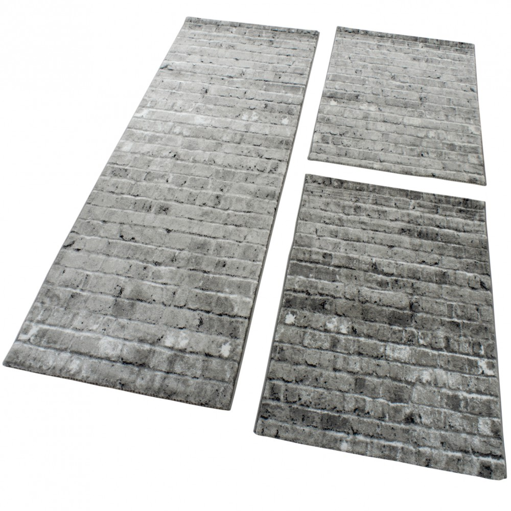 Designer Rug - Bedroom Runners Carpet With Stone Wall Pattern In Grey Silver