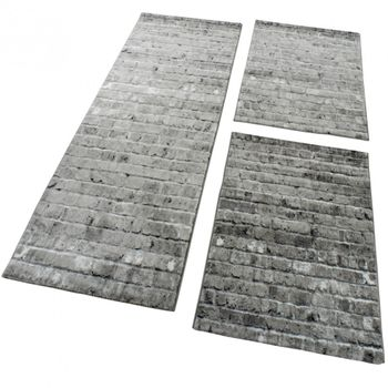 Designer Rug - Bedroom Runners Carpet With Stone Wall Pattern In Grey Silver – Bild 1