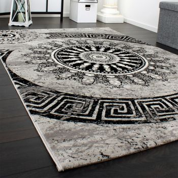 Designer Rug - Bedroom Runners With Classic Circle Ornaments In Grey Black – Bild 2