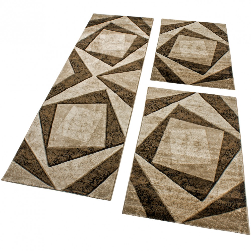 Designer Rug - Bedroom Runners Contour Cut Geometric Mottled Brown Beige Black
