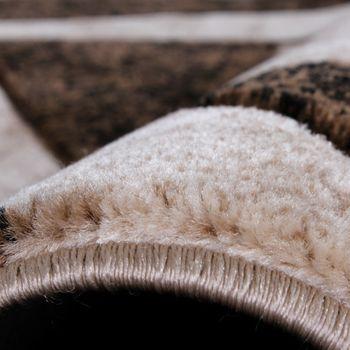 Läuferset Designer Teppiche Bettumrandung Kariert in Braun Schwarz Creme Meliert – Bild 3