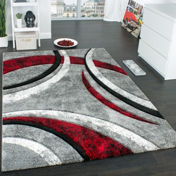 Designer Carpet Striped In Grey Black Red