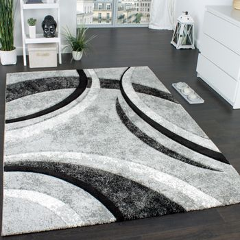 Designer Carpet In Grey Black