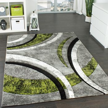 Designer Carpet Striped In Grey Green Black
