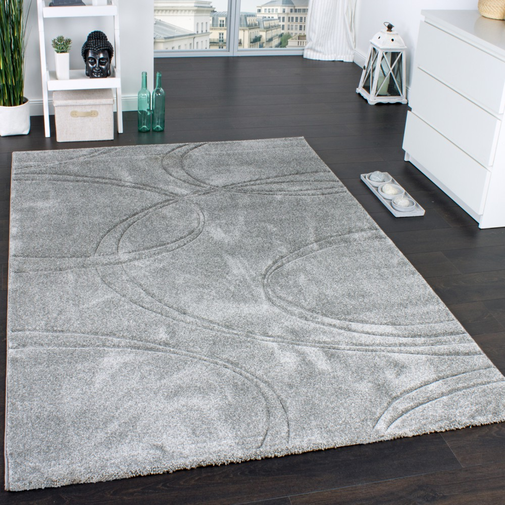 tapis unicolore tapis design contours fait main gris tapis tapis poil ras. Black Bedroom Furniture Sets. Home Design Ideas