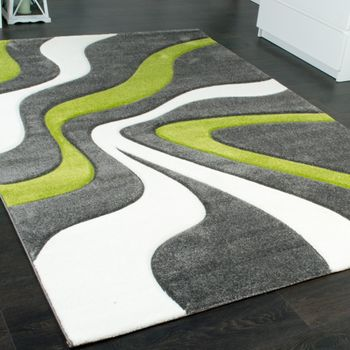 Designer Carpet With Contour Cut And A Wave Pattern In Grey Green And Cream – Bild 2