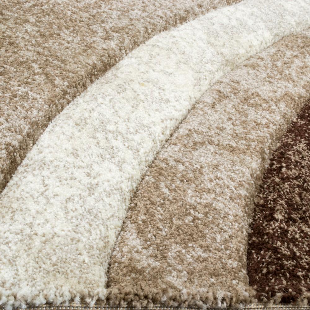 designer teppich mit konturenschnitt muster gestreift braun beige creme meliert teppiche. Black Bedroom Furniture Sets. Home Design Ideas