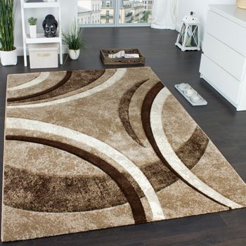 Designer Carpet Striped Pattern In Brown Beige