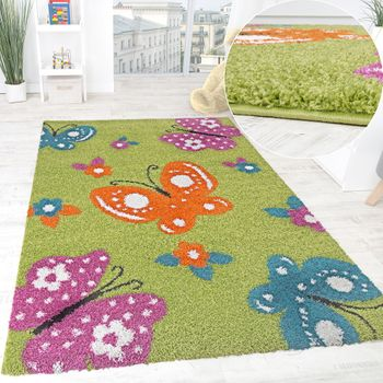 Children's Room Rug Colourful Butterflies