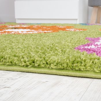 Children's Room Shaggy Rug Colourful Butterflies Children's Rug High-Pile Green – Bild 3