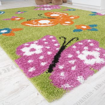 Children's Room Shaggy Rug Colourful Butterflies Children's Rug High-Pile Green – Bild 4