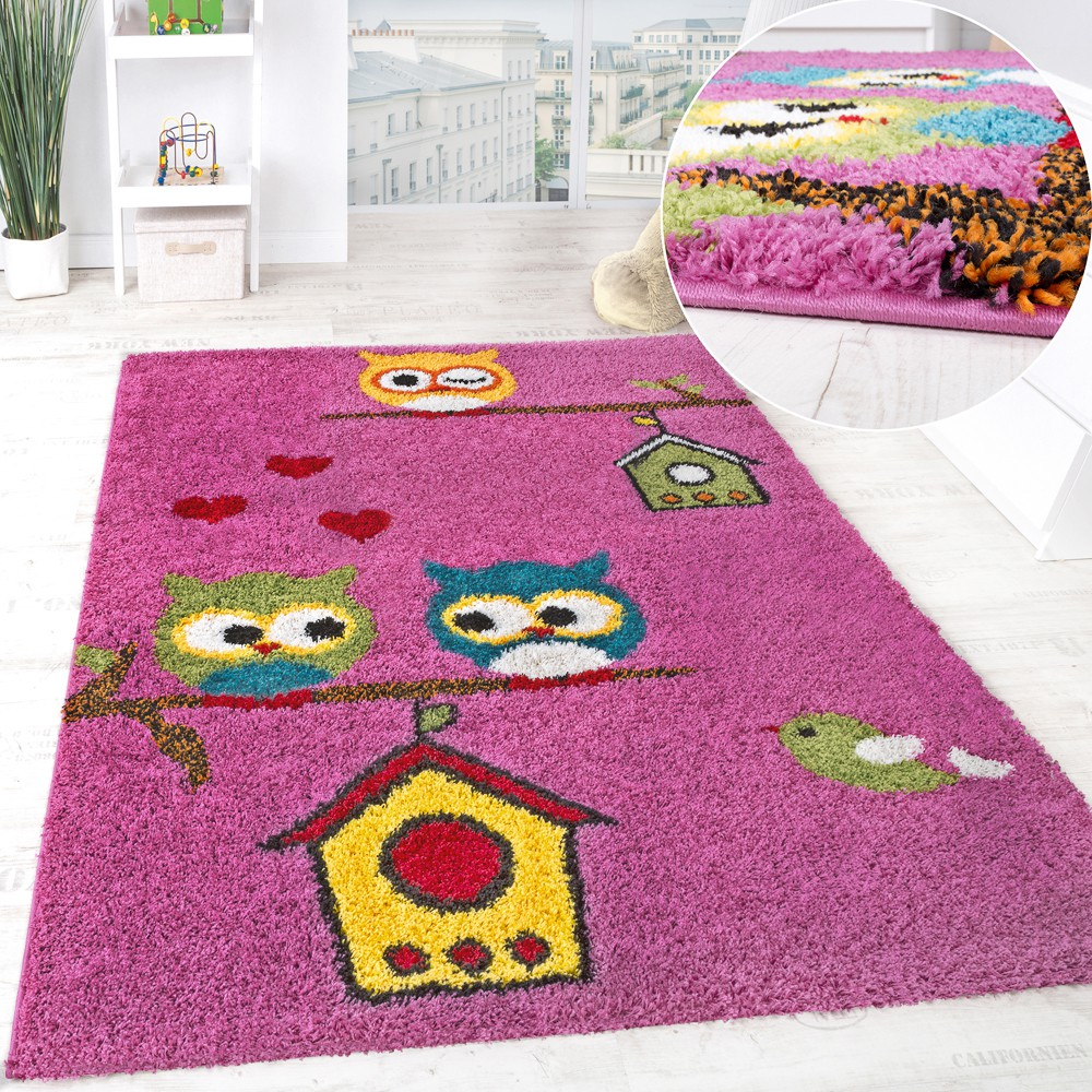 Children's Room Shaggy Rug Colourful Owls Pattern Children's Rug High-Pile Pink