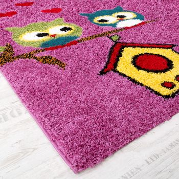 Children's Room Shaggy Rug Colourful Owls Pattern Children's Rug High-Pile Pink  – Bild 2