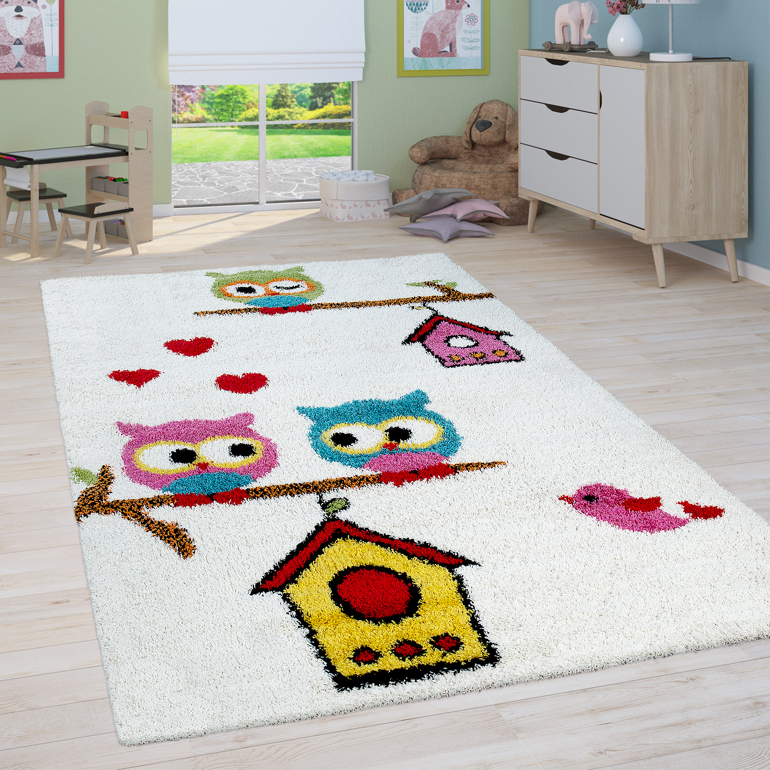Children's Room Shaggy Rug Owls Children's Rug High-Pile in Cream Multicoloured
