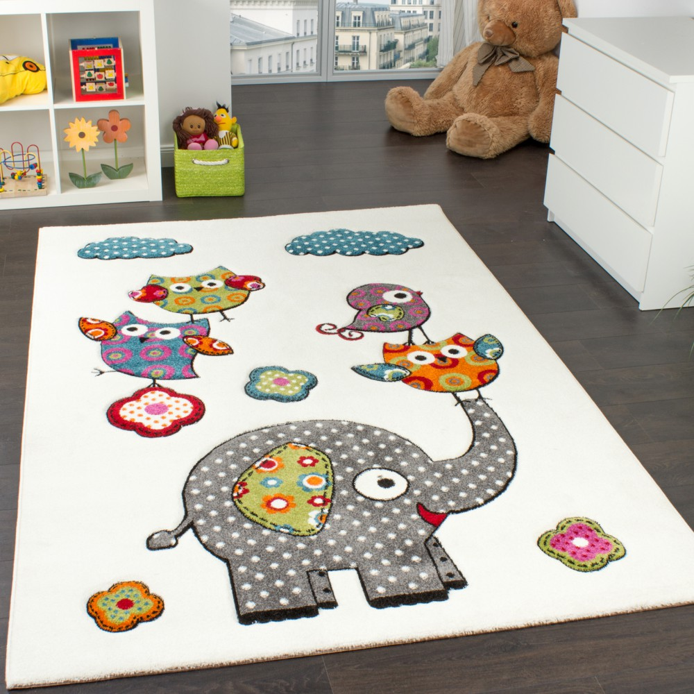 Tappeto Per Bambini Con Elefante Gufi Fiori Amici Animali Crema Rosso Grigio Blu