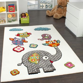 Children's Room Rug Colourful Zoo Animals Cream