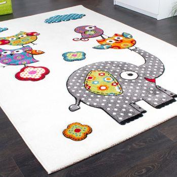 Kinderzimmer Teppich Niedliche Bunte Zootiere Eulen mit Elefanten Mehrfarbig – Bild 2