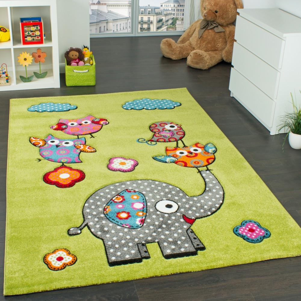 Children's Room Rug Cute,  Zoo Animals Owls And Elephants Green Blue Grey Red