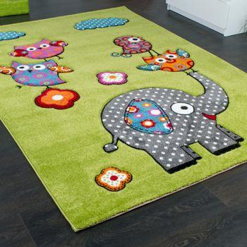 Kinderzimmer Teppich Niedliche Bunte Tierwelt Eule Elefant in Grün Blau Grau Rot – Bild 2