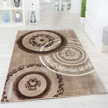 Rug Circular Shape Brown Beige