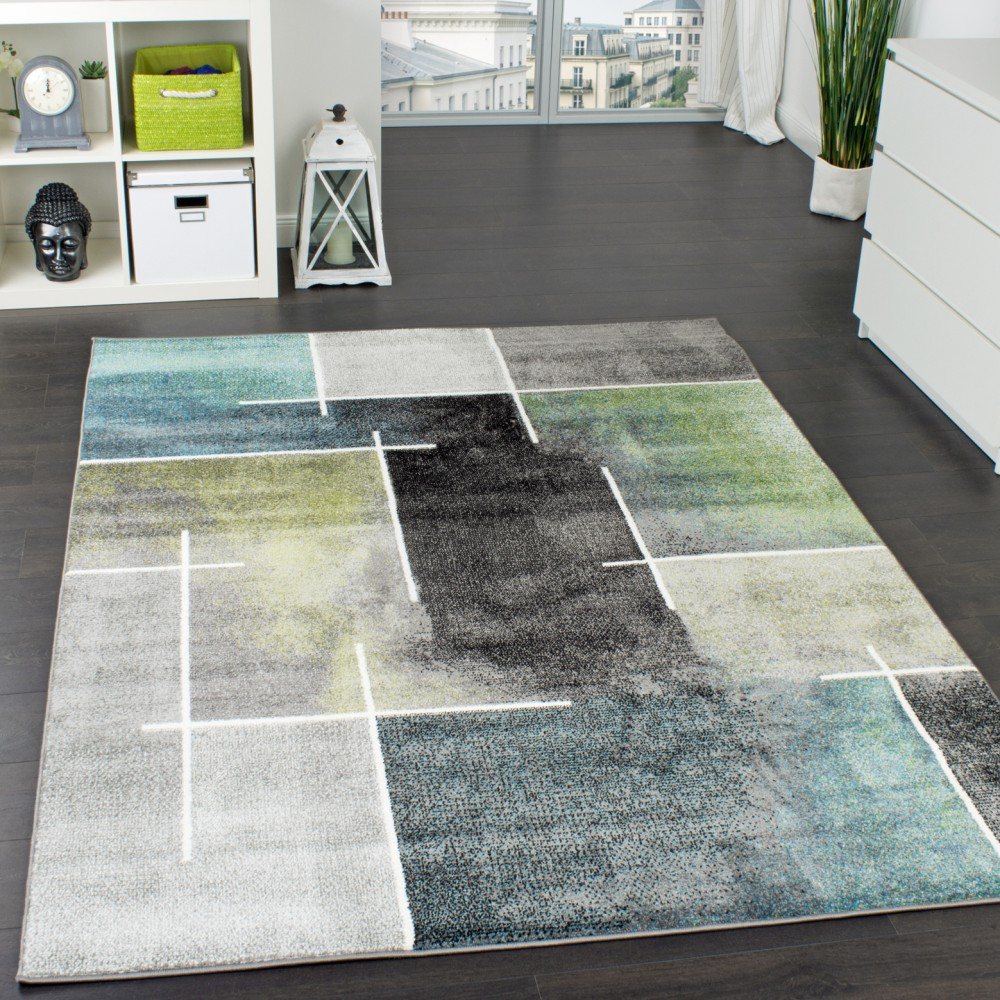 Attraktiv Designer Rug Chequered Modern Trendy Mottled Eyecatcher In Grey Turquoise  Green
