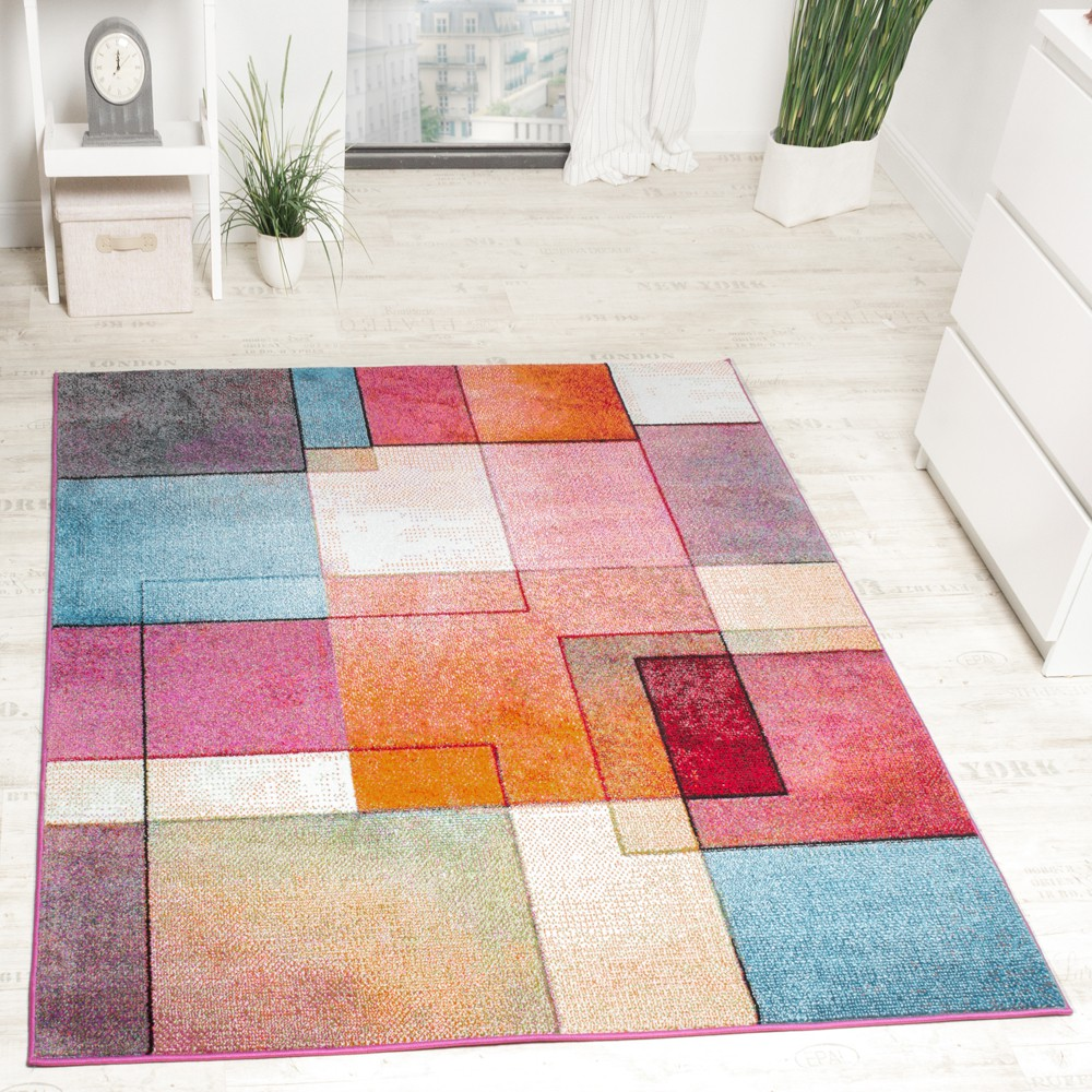 Modern Designer Rug Colourful Check Pattern Mottled Turquoise Green Fuchsia