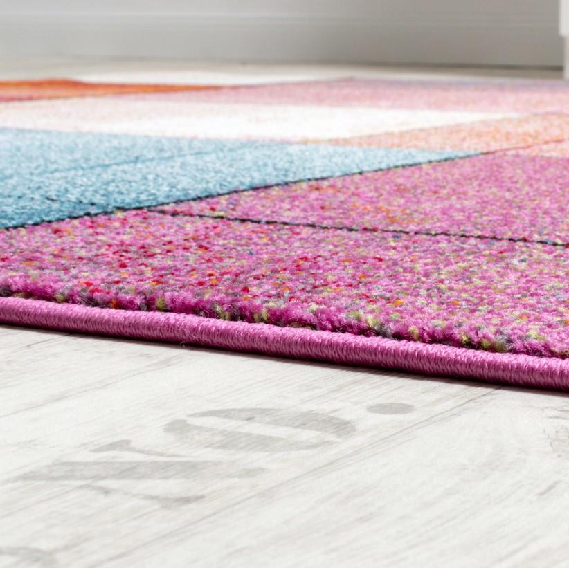 Designer Teppich Modern Bunt Karo Muster Multicolour Türkis Grün ...