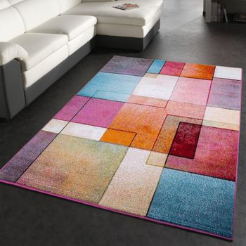 Modern Designer Rug Colourful Check Pattern Mottled Turquoise Green Fuchsia – Bild 4