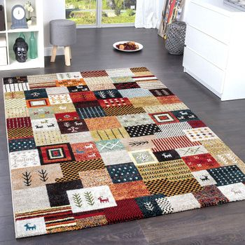 Modern Designer Nomadic Loribaft Rug Terracotta Red Green Multicoloured – Bild 1