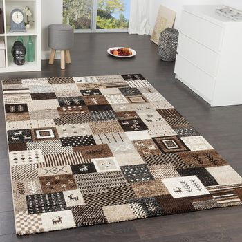 Modern Loribaft Designer Rugs Nomadic Gabbeh Design Rug Beige Brown and Cream – Bild 1