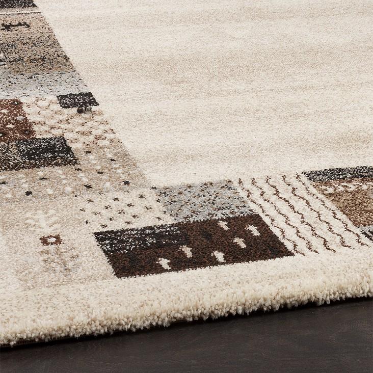 tapis design moderne loribaft avec bordages tapis nomades beige marron cr me tapis tapis poil ras. Black Bedroom Furniture Sets. Home Design Ideas