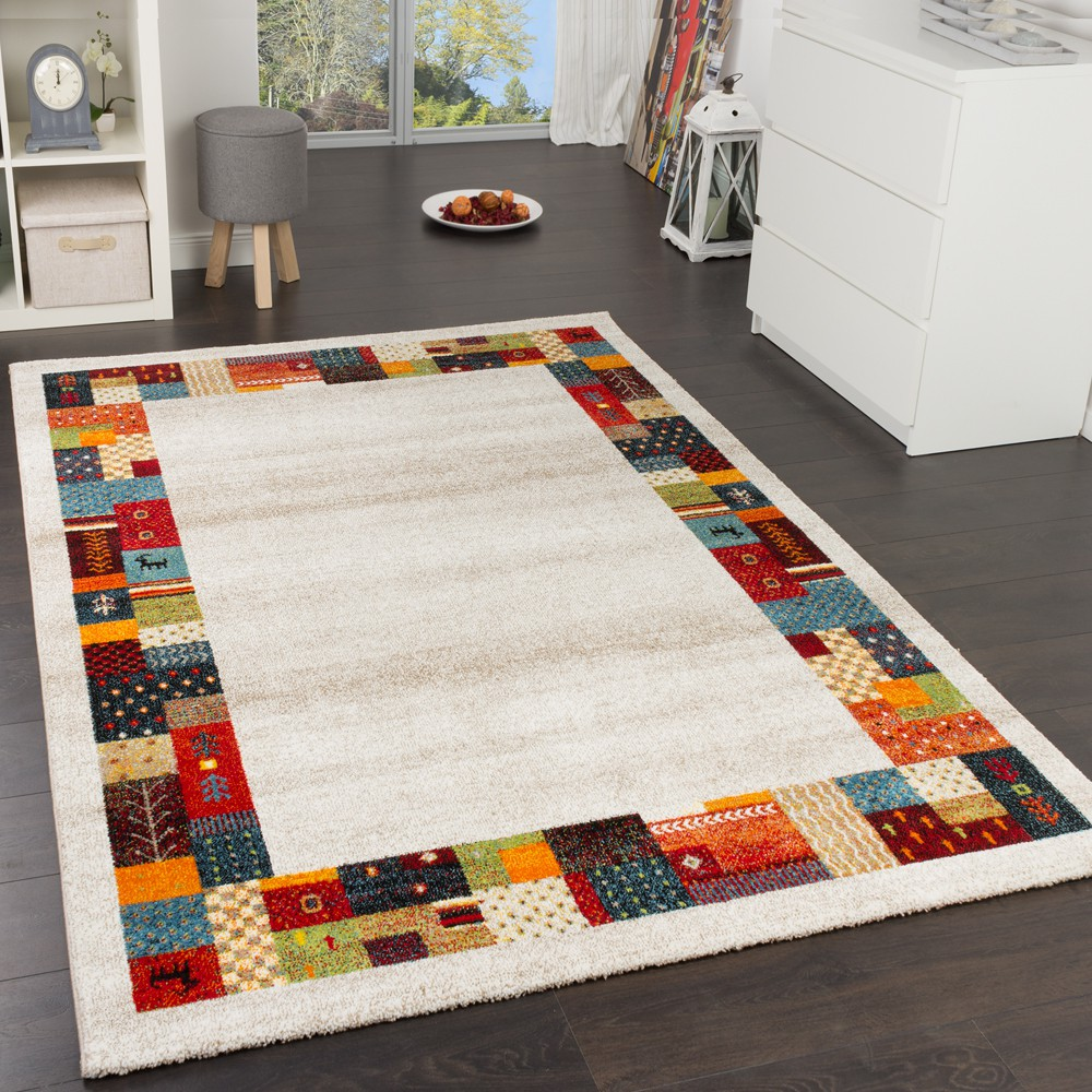 tapis design moderne loribaft bordages nomades tapis multicolore beige cr me tapis tapis poil ras. Black Bedroom Furniture Sets. Home Design Ideas